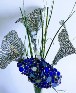 Blue green glass flowers